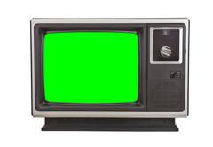 Vintage Television with Chroma Green Screen Isolated Kuvituskuvat