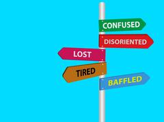 Lost, tired, confused, disoriented, baffled directional road sign. Stress signs Stock Illustration