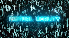 Bluish Virtual Reality concept with digital code Stock Footage
