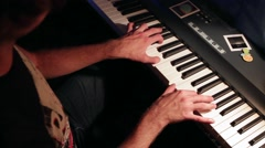 Close up of man hands piano playing Stock Footage