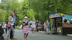 Lots of people walking in the park Stock Footage