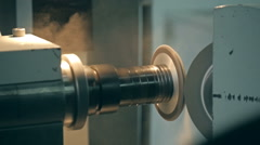 Detail of stainless steel machinery in physics laboratory nano grinding Stock Footage