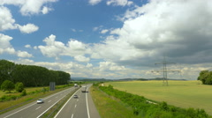 Highway in sunny landscape. Transport in Germany, Europe. Stock Footage
