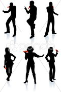 Singers Silhouette Collection Stock Illustration