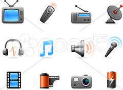 Electronics and Media icon collection Stock Illustration