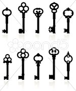Antique keys collection Stock Illustration