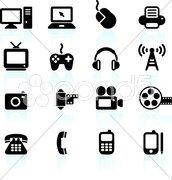 Technology and communication design elements Stock Illustration
