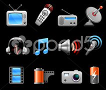 Electronics and Media icon collection - stock illustration