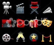 Film and movies industry icon collection Stock Illustration