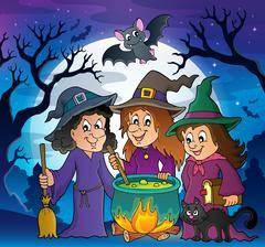 Three witches theme image - eps10 vector illustration. Stock Illustration
