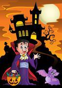 Halloween vampire near haunted house - eps10 vector illustration. Piirros