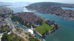 Aerial shoot of Trogir old town. Croatian tourist destination Stock Footage