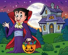 Halloween vampire theme image - eps10 vector illustration. Stock Illustration