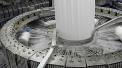 Yarn spools on spinning machine in a factory Stock Footage