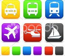 Transportation icon on internet buttons - stock photo