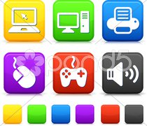 Technology Icons on Square Internet Buttons - stock photo