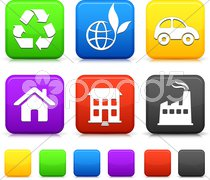 Nature Environment icons on square internet buttons - stock photo