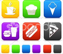 Food Icond on Square Internet Buttons - stock photo