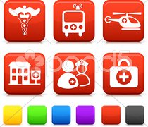 Medical Icons on Square Internet Buttons - stock photo