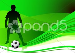 Soccer Player on Abstract Green Background - stock photo