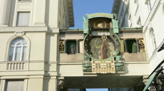 The clock Ankeruhr in Vienna Stock Footage