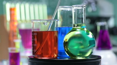 Chemical, Science, Laboratory, Test Tube, Equipment on turn table Stock Footage