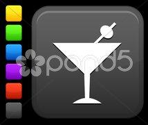 Martini icon on square internet button Stock Illustration