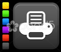Computer printer  icon on square internet button Stock Illustration