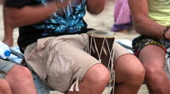 Unidentified man playing on drum Stock Footage