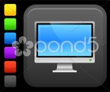 computer monitor icon on square internet button - stock photo