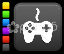 video game controller icon on square internet button - stock photo