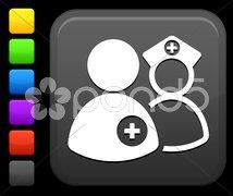 Medical staff  icon on square internet button Stock Illustration