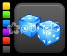 Gambling dice icon on square internet button Stock Illustration