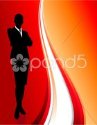 businesswoman on abstract red background - stock illustration