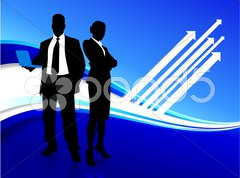 Businessman and businesswoman on blue internet background Stock Illustration