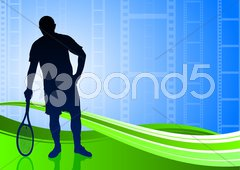 Tennis Player on Abstract Film Reel Background - stock illustration