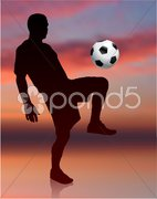 Soccer Player on Evening Background Stock Illustration