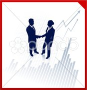 Business team silhouettes on corporate chart background Stock Illustration