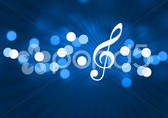Musical Icon on Lens Flare Background - stock illustration