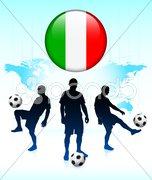 Italy Flag Icon on Internet Button with Soccer Team Stock Illustration