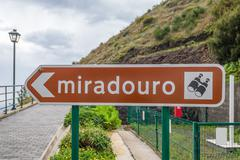 Miradouro sign means lookout or sightseeing place in Portugal Stock Photos