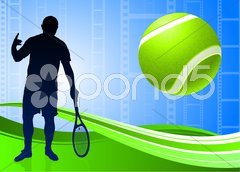 Tennis Player on Abstract Film Reel Background Stock Illustration