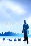 Young traveler internet background with city and transportation Stock Illustration