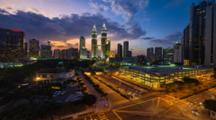 Cityscape busy traffic sunset timelapse in Kuala Lumpur, Malaysia Stock Footage