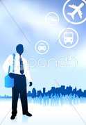 Businessman traveler with new york skyline internet background Stock Illustration