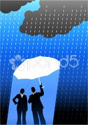 Business insurance background with two people Stock Illustration
