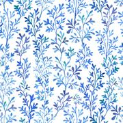 Watercolor blue flora. Stock Illustration