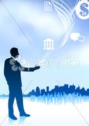 Businessman with icons new york skyline and internet background Stock Illustration