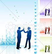 Business team high five on business chart background Stock Illustration