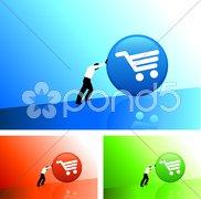Businessman pushing icon uphill Stock Illustration